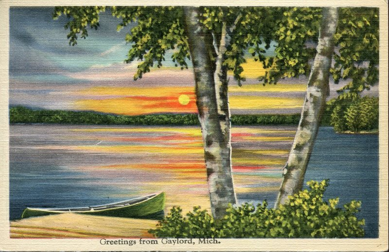 Greetings from Gaylord Michigan Postcard